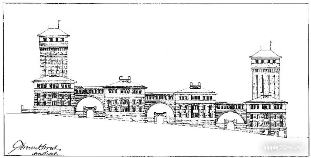 Arkitekten Torben Grut hade storslagna visioner för Tobaksfabriken med bland annat två torn. Bara den nedre delen blev byggd.