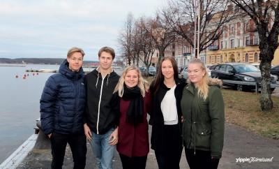Max Eriksson, Mikael Nordin, Jasmine Broman, Ida Wållberg och Elina Lundgren som går i årskurs 2 på teknikprogrammet har spännande idéer för Skeppsbron och kajerna i Härnösand.