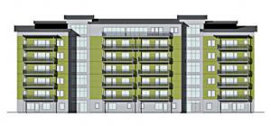 Tidig ritning på Utsikten som planeras på gamla kolonilottområdet.