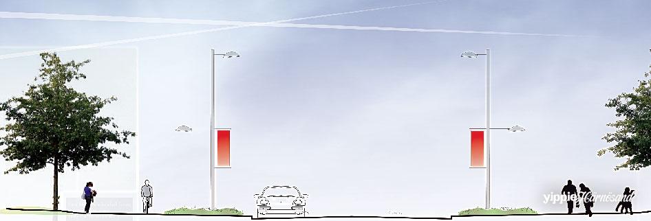Förslaget för delen närmast Härnösand Central fördelar Nybrogatan så här: 1,5 m gångväg, 2 m cykelväg, 3,5 m planteringsyta, 8 meter körbana, 3,5 m planteringsyta, 2 m cykelväg och 1,5 m gångväg. I dag är körbanan mellan 11 och 13 meter.