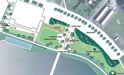 Det finns många olika idéer på aktiviteter och nya anläggningar på framtidens Kanaludden. Den här idéskissen visar några av dem.