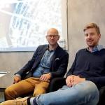 Olof Pergament från Amasten  och Emil Westerlind för Westerlinds Fastigheter jobbar tillsammans för att utveckla Härnösands centrum.