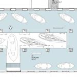 Invändigt ska ett hål tas upp mellan våningarna för att rymma de högsta båtarna. Det blir också en håltagning i fasaden för att få in båtarna, men det är i skrivande stund oklart var den hamnar. Skiss av TM Konsult