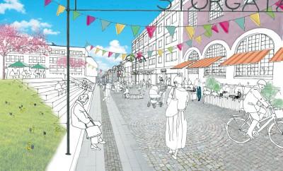 """En tidig inspirationsskiss av en av Härnösands entréer till stadskärnan, vid korsningen Storgatan-Nybrogatan, eller som det ibland kallas """"Krysset"""" – en plats som behöver utvecklas."""