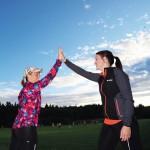 Maria Näsström och Viktoria Boström satsar på att springa Lidingö Tjejlopp.