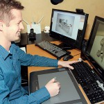 Erik Björkland jobbar mest med industrikunder. Det här är en hydraulvinsch han animerade på uppdrag av Bosch Rexroth (före detta Hägglunds) i Mellansel.