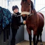 Det är sportlovsläger och Line Wilhelmsson sköter om hästen Ior.