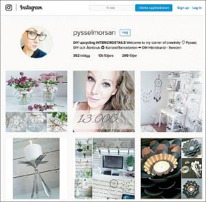 Lindas instagramsida med bilder på masssor av idéer till pyssel.
