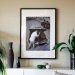 På väggen hänger också en uppkäftig bild av Jerry och hans gamla raggarbil, tagen av Kaj-Åke Hägglund 2016.